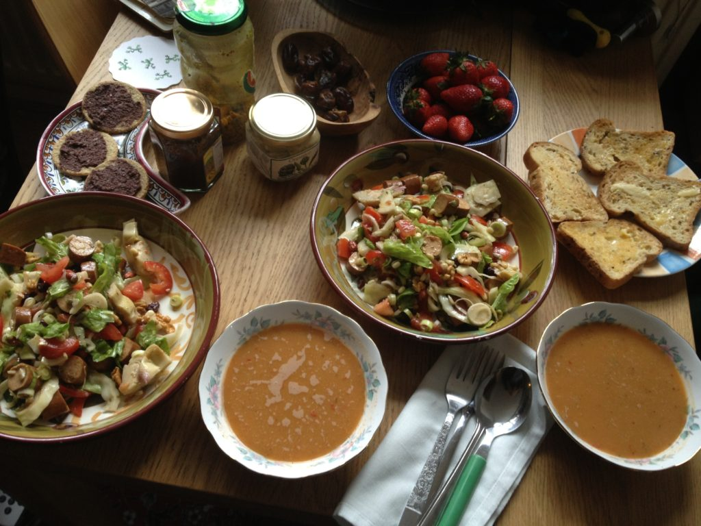 Soup & salad lunch (new salad recipe!)
